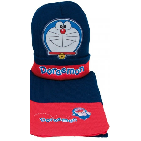 Bufanda y Gorro Doraemon de punto bordado