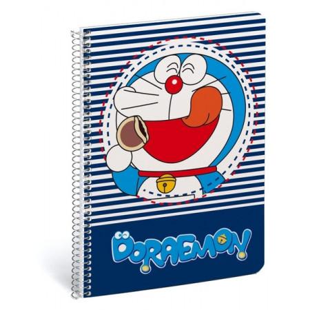 Libreta A5 80 hojas cuadriculada color azul Doraemon.
