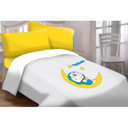 Set sábana encimera , bajera y funda almohada Doraemon Luna para cama de 90.