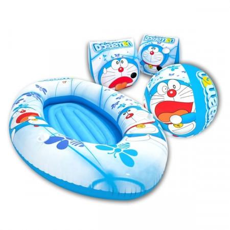 Set de playa compuesto por Manguitos , Barca y Pelota de Doraemon.